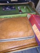 Box containing Subuteo game and leather wallets