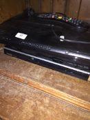 A Samsung digi box and a Toshiba DVD player