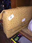 An ostrich leather handbag