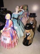 Three Royal Doulton figures and two Rotyal Doulton Churchill jugs