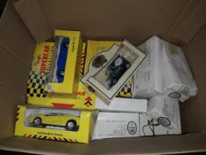 A box of boxed model cars including Maesto