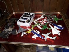 A tray of mainly model aeroplanes