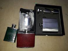 Edwin Blyde 4oz Polished Pewter hip flask plus 3 others