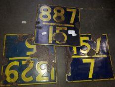 3 vintage railway track marker signs