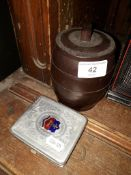 Bakelite tobacco box and a cigarette case with enamel badge