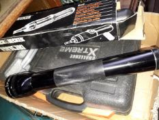 A box of garageware including torch, cordless screwdriver, mini tool set and electric screwdriver