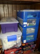 A plastic 4 drawer cabinet of cake decorating items, and a tub of beadworking items etc