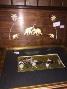 An Indian rosewood tray with inlay and a print.