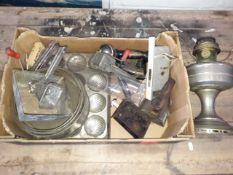 A box of kitchenalia, lamp, lock etc.