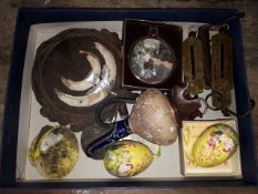 A box of bric a brac including a Doulton stoneware ewer, scales, tusks etc.