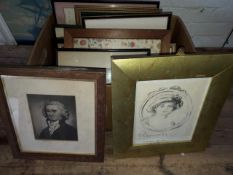 A box of pictures and prints.