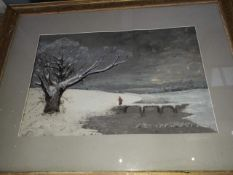 19th century School, winterscene, monogrammed 'WH' and dated 1867, glazed and framed.