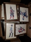 A box of miniature prints depicting mainly military figures and others.