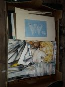 A box of original works, local amateur artist, mainly watercolours.