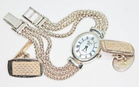 A pair of cufflinks and a ladies watch, all marked 925.