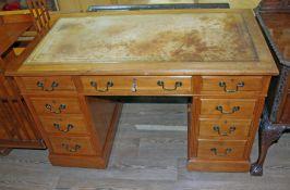 A late Victorian pedestal desk, width 122cm, depth 66cm & height 74.5cm.