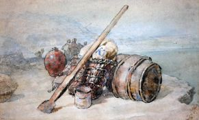 19th century school, shrimpers, watercolour, 34cm x 20cm, indistinctly signed lower left,