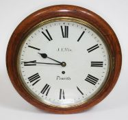 "An oak cased wall clock, the 12"" dial signed J Ellis Penrith, four pillar chain driven single"