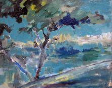 James Lawrence Isherwood (1917-1989), Mediterranean scene, oil on board, 49cm x 39cm, signed lower