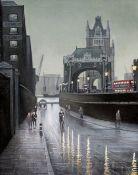 "Steven Scholes (b1952), ""Tower Bridge from St Katharines Way London 1962"", oil on board, 39cm x"