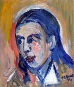 "James Lawrence Isherwood (1917-1989), ""To Katey Nanetos"", oil on board, 39.5cm x 46.5cm, signed"