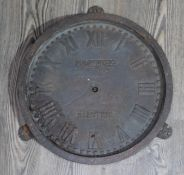 A cast iron station clock PULSYNETIC ELECTRIC diam. 33cm, as found.