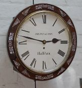 """An early 19th century mother of pearl inlaid rosewood wall clock, the 12"""" dial painted with Roman"""