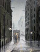 "Steven Scholes (b1952), ""Paul's Pier Warf London 1962"", oil on canvas, 28cm x 38cm, signed lower"