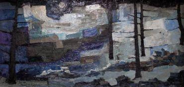 "Hazel Titherley (Burgoyne, b1935), ""Pennine Moon"", abstract, oil on board, 51cm x 24.5cm, signed"