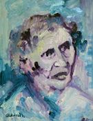 "James Lawrence Isherwood (1917-1989), ""Helen Keller"", oil on board, 34cm x 44cm, signed lower"