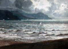 Early 20th Century School, seascape, oil on canvas, 54cm x 38cm, indistinctly signed lower right,
