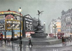 """Steven Scholes (b1952), """"Piccadilly Circus London 1962"""", oil on board, 34cm x 24cm, signed lower"""