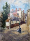 Early 20th Century School, Continental street scene with woman and child, oil on card, 9cm x 12.5cm,