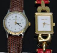 A Jaeger-LeCoultre ladies quartz wristwatch ref. 133.5.11 together with a gold plated Gucci ladies