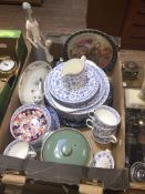 A box containing various ceramics to include Wedgwood, Poole, Spode, Minton, Denby and Royal