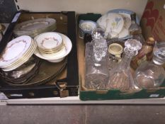 A mixed lot of cut glass, plated ware, a Royal Doulton flagon (no handle), Minton dinner ware etc.