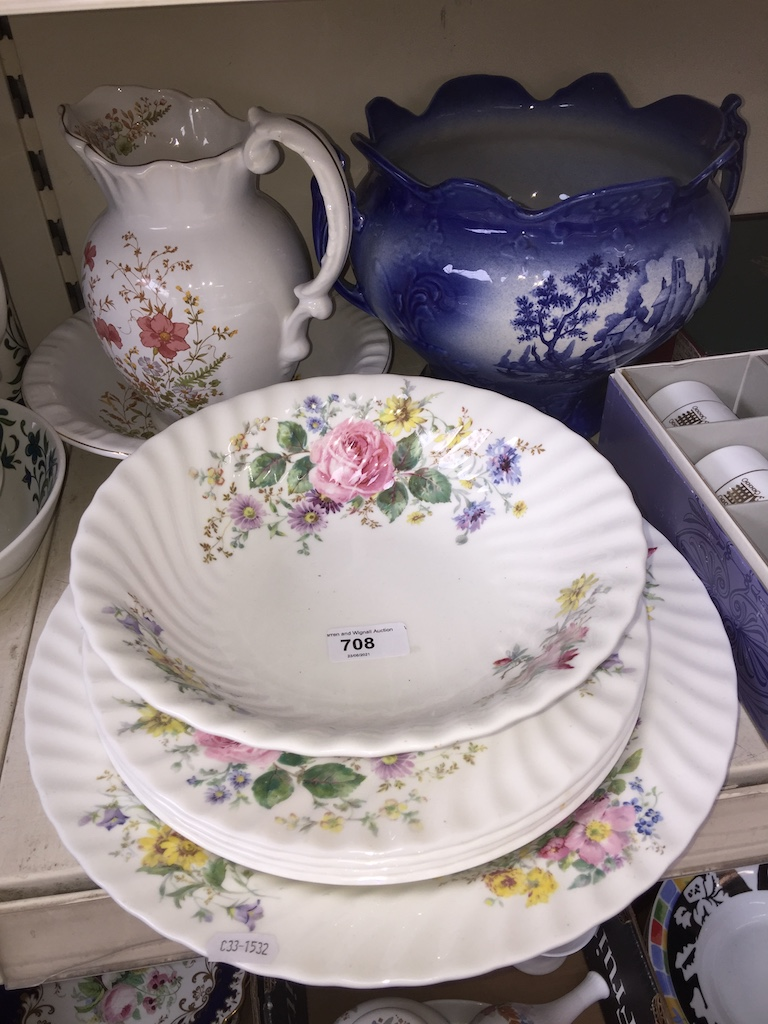 Doulton Arcadia charger and bowl, large jardiniere etc