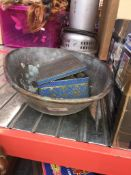 A galvanised weighing scale pan and imperial weights - no scales.