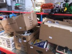 Six boxes of home ware including gang plugs, bathroom scales, records, etc