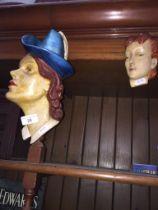 Two Art Deco plaster masks