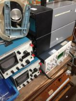 A Telequipment D61A oscilloscope, a Griffin double beam oscilloscope and 2 others.