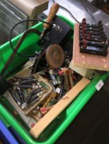 A box of misc scientific apparatus to include transformer coils, plates, etc.