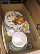 A box of various ceramics to include Cornish ware, Sylvac and a Midwinter cake stand etc.
