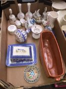 A box of mixed ceramics to include Queensway Clematis, Willow Artware cheese dish, Sylvac planter