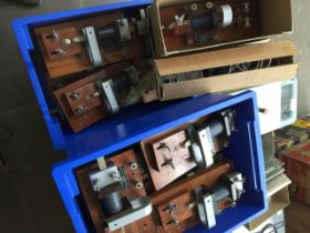2 boxes of ticker timers + 1 box of misc laboratory electrical items to include UHF oscillator, etc,