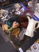 A mixed box of ceramics etc including mortar and pestle, glass basket, Royal Worcester white Fern