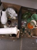 Two boxes of mixed ceramics and glass including drinking glasses, Portmeirion jug, Sylvac jug, and