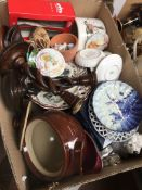 Mixed china, glass etc including Portmeirion and Denby