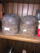 Milliner's hat blocks.