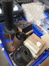 A box misc including calorific burner, GRD7 solenoid, prism holder, grease spot holder, spring